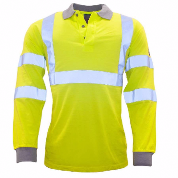 FR77 - FLAME-RESISTANT ANTI-STATIC HI-VIS LONG SLEEVE POLO SHIRT